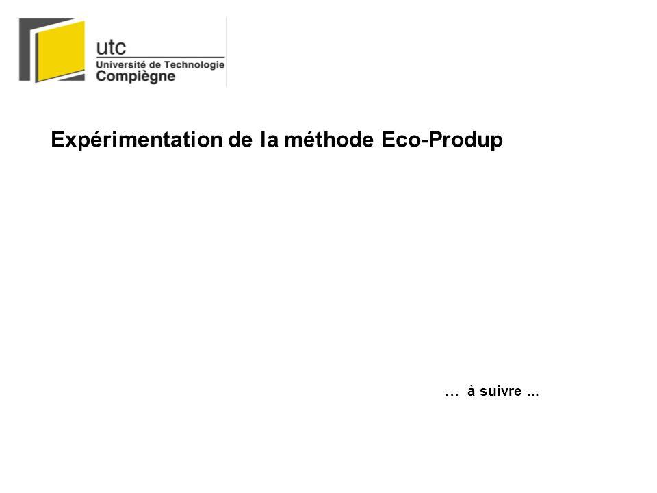 Expérimentation de la méthode Eco-Produp … à suivre...