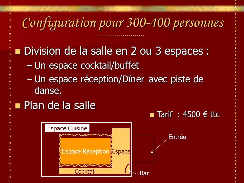 Espace Configuration pour 300-400 personnes Division de la salle en 2 ou 3 espaces : Division de la salle en 2 ou 3 espaces : –Un espace cocktail/buffet –Un espace réception/Dîner avec piste de danse.