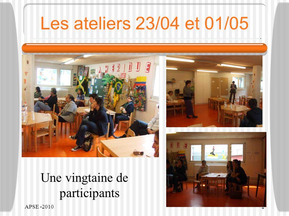APSE -20102 Les ateliers 23/04 et 01/05 Une vingtaine de participants