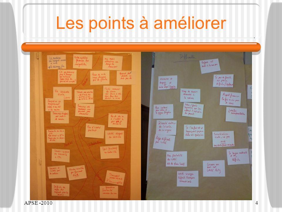 APSE -20104 Les points à améliorer