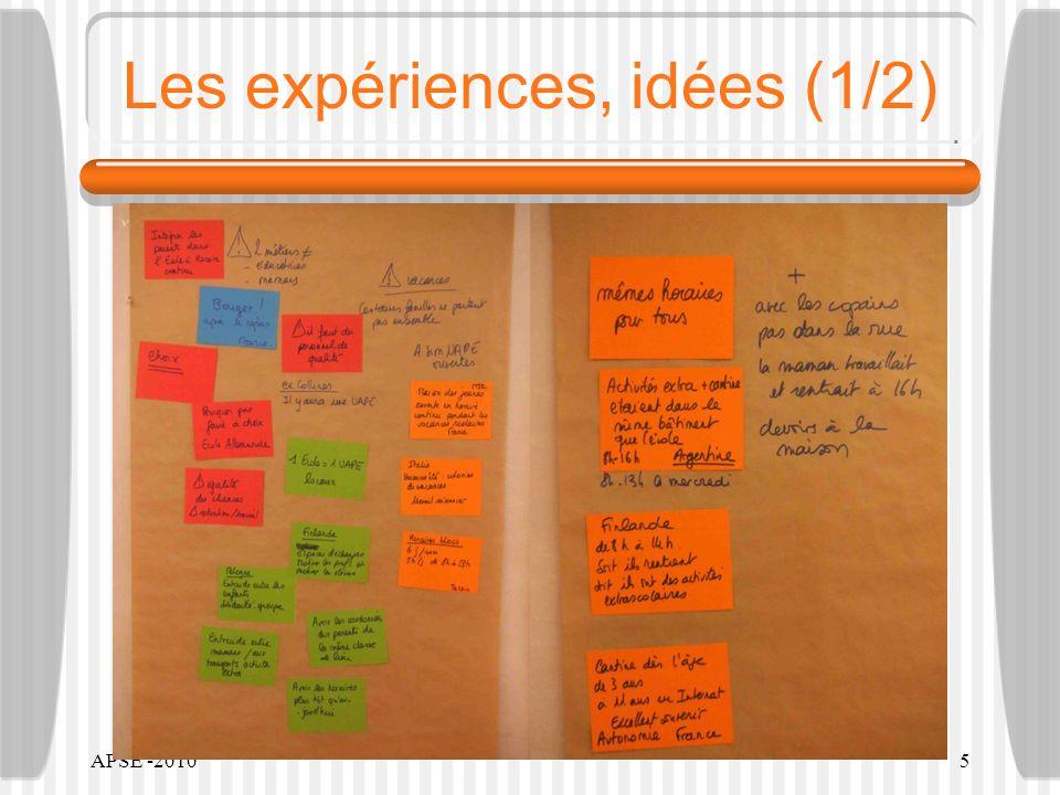APSE -20105 Les expériences, idées (1/2)