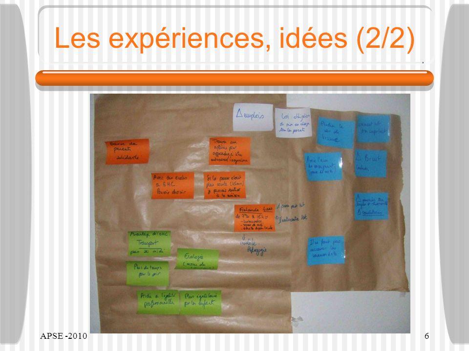 APSE -20106 Les expériences, idées (2/2)