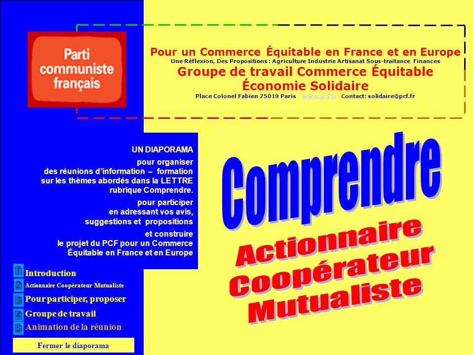 Pour un Commerce Équitable en France et en Europe Une Réflexion, Des Propositions : Agriculture Industrie Artisanat Sous-traitance Finances Groupe de