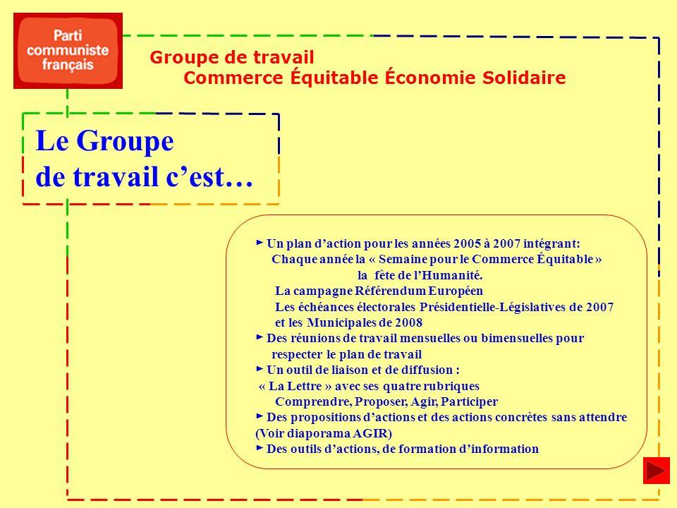 Un plan daction pour les années 2005 à 2007 intégrant: Chaque année la « Semaine pour le Commerce Équitable » la fête de lHumanité. La campagne Référe