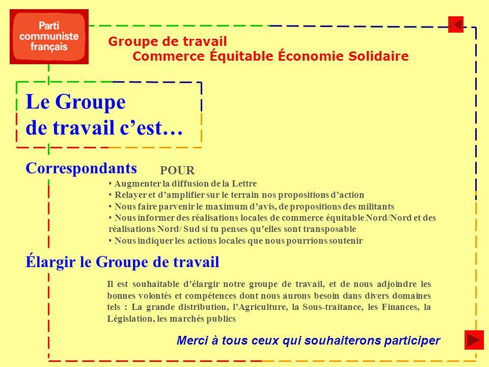Groupe de travail Commerce Équitable Économie Solidaire Il est souhaitable délargir notre groupe de travail, et de nous adjoindre les bonnes volontés