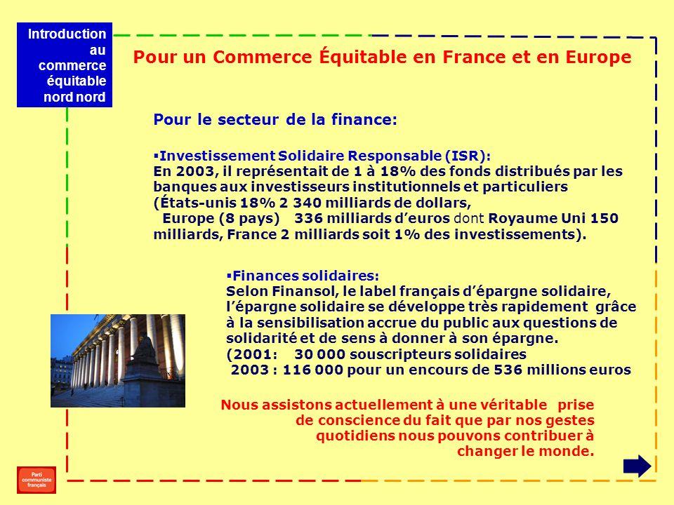 Pour le secteur de la finance: Investissement Solidaire Responsable (ISR): En 2003, il représentait de 1 à 18% des fonds distribués par les banques aux investisseurs institutionnels et particuliers (États-unis 18% 2 340 milliards de dollars, Europe (8 pays) 336 milliards deuros dont Royaume Uni 150 milliards, France 2 milliards soit 1% des investissements).