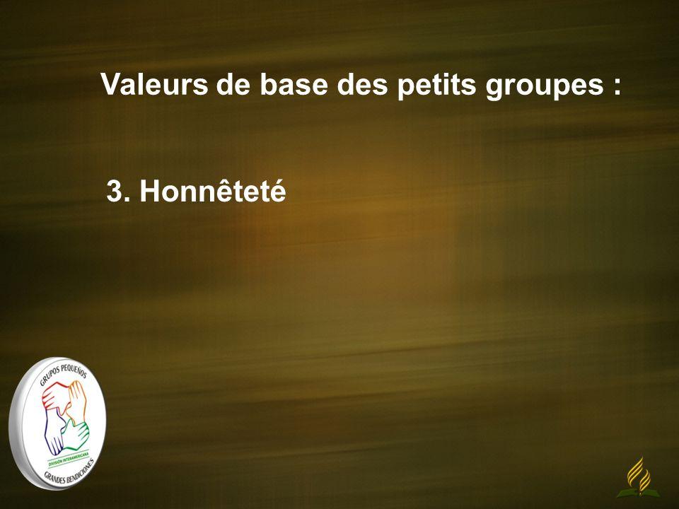 Valeurs de base des petits groupes : 3. Honnêteté