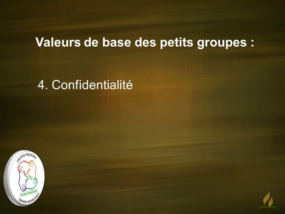 Valeurs de base des petits groupes : 4. Confidentialité
