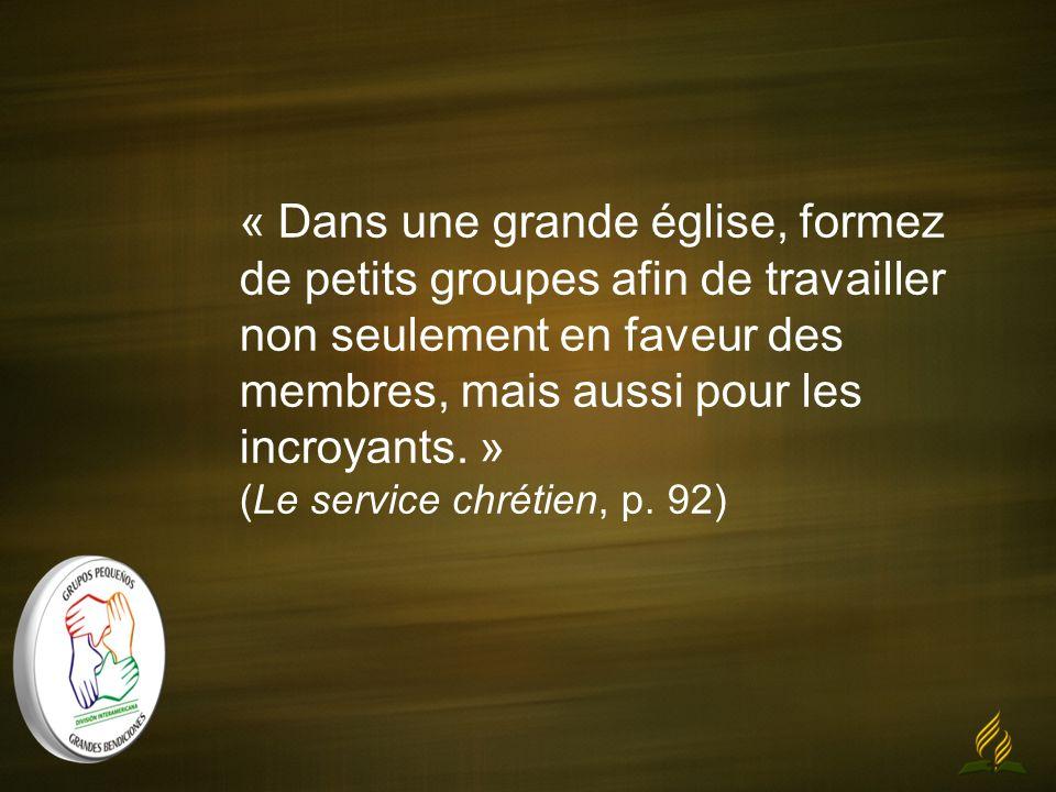 « Dans une grande église, formez de petits groupes afin de travailler non seulement en faveur des membres, mais aussi pour les incroyants. » (Le servi
