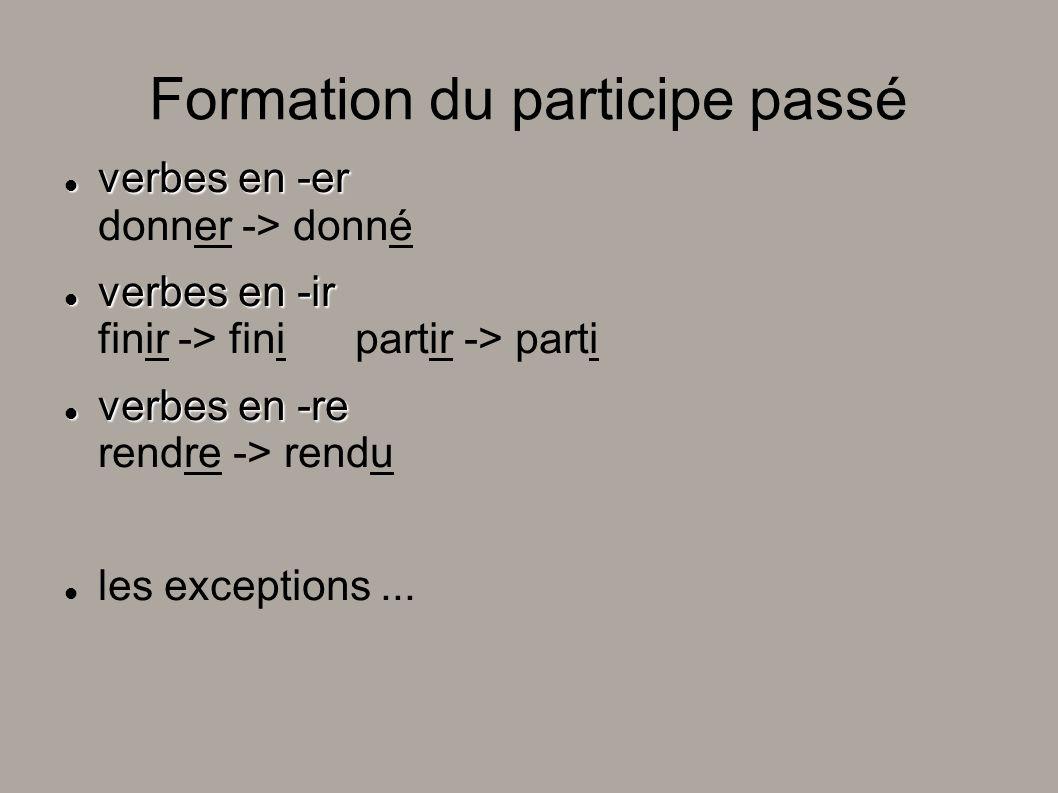 Formation du participe passé verbes en -er verbes en -er donner -> donné verbes en -ir verbes en -ir finir -> fini partir -> parti verbes en -re verbe