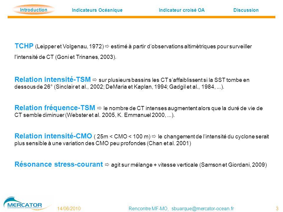 Indicateurs OcéaniqueDiscussion Indicateur croisé OA Introduction 14/06/2010Rencontre MF-MO, sbuarque@mercator-ocean.fr 3 Introduction TCHP (Leipper e