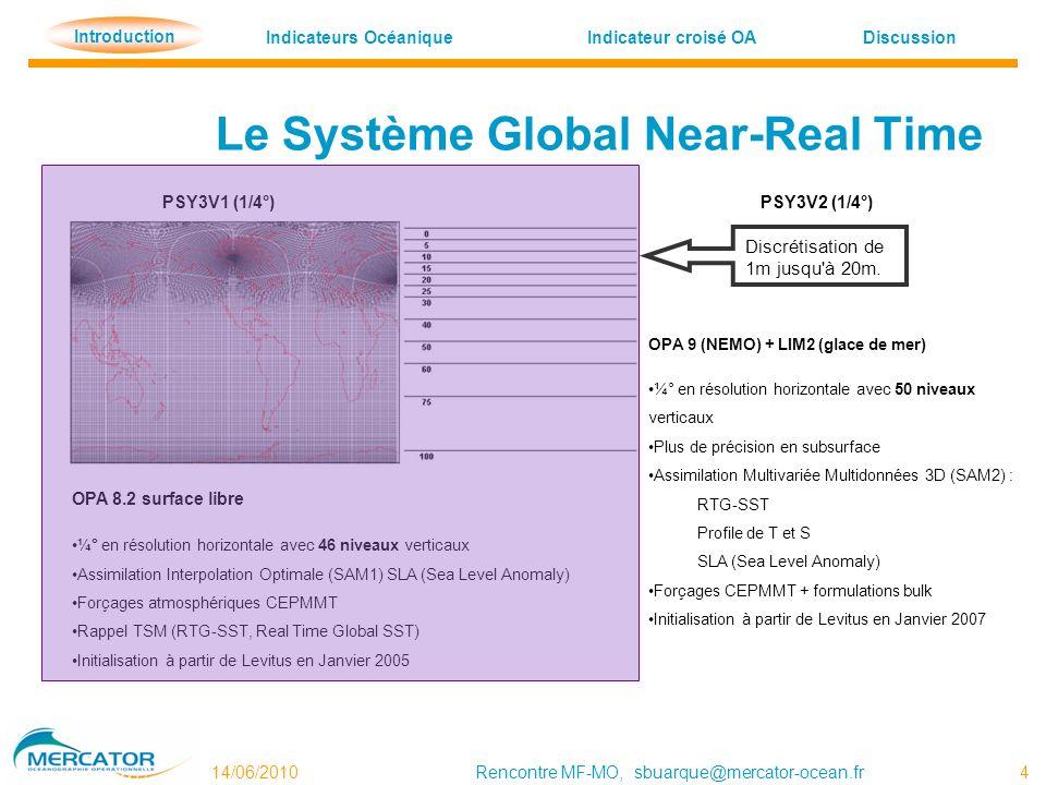 Indicateurs OcéaniqueDiscussion Indicateur croisé OA Introduction 14/06/2010Rencontre MF-MO, sbuarque@mercator-ocean.fr 4 Le Système Global Near-Real Time PSY3V1 (1/4°) PSY3V2 (1/4°) Discrétisation de 1m jusqu à 20m.