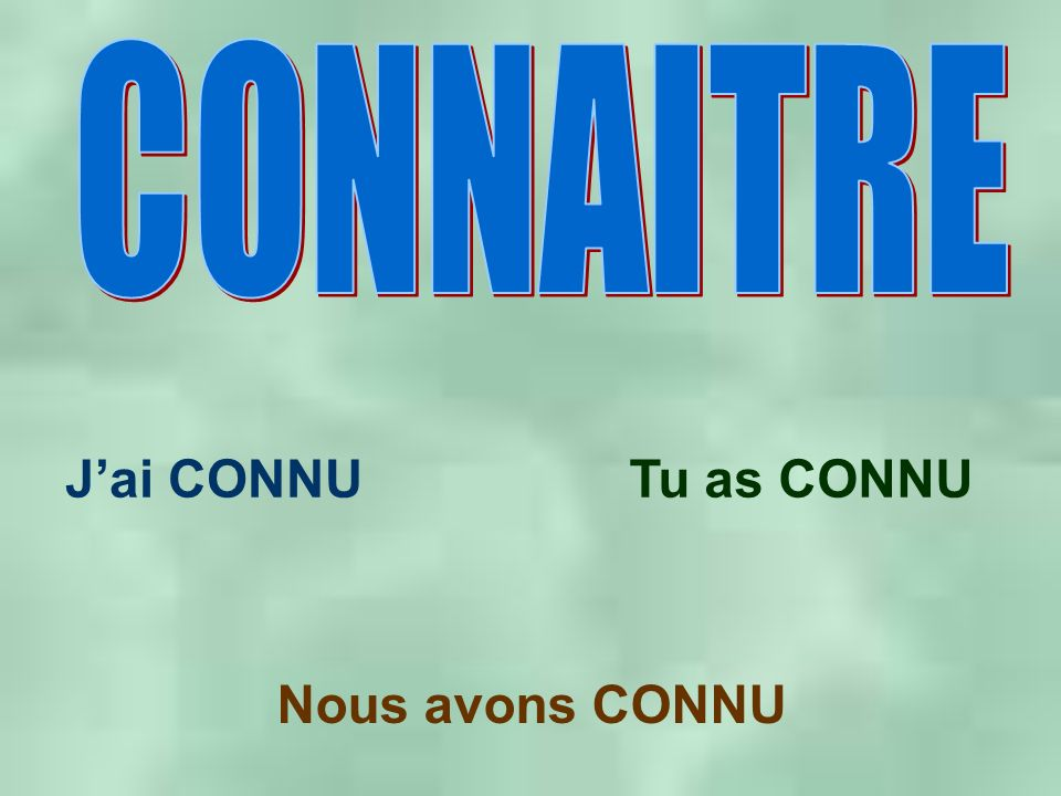Jai CONNUTu as CONNU Nous avons CONNU