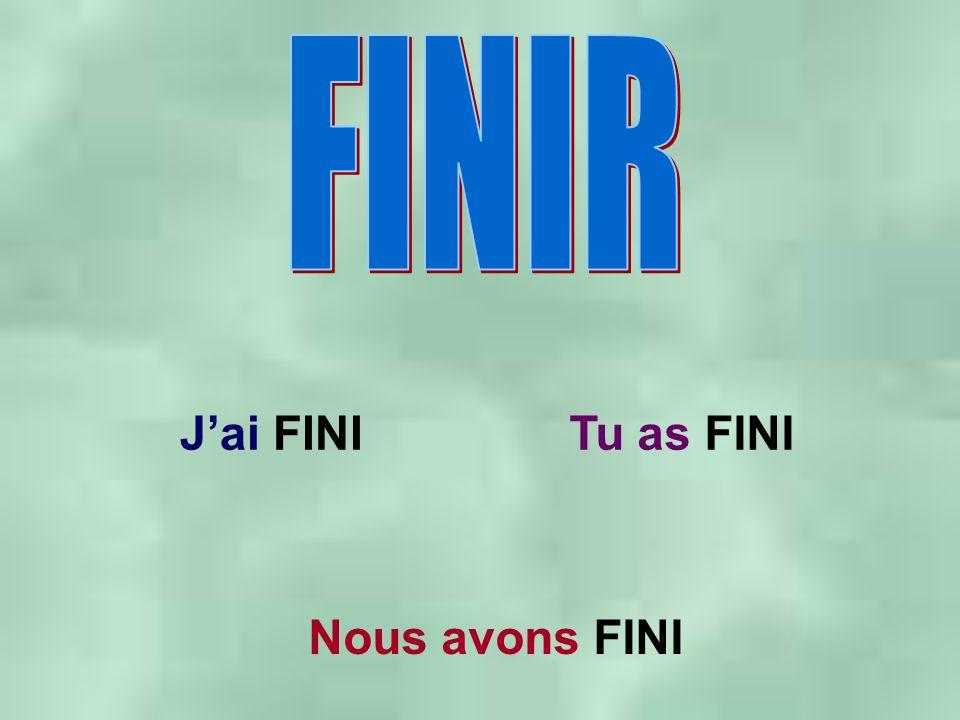Jai FINITu as FINI Nous avons FINI