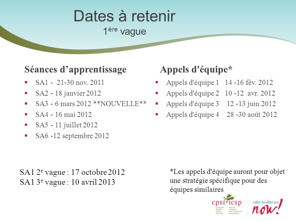 Dates à retenir 1 ère vague Séances dapprentissage SA1 - 21-30 nov. 2011 SA2 - 18 janvier 2012 SA3 - 6 mars 2012 **NOUVELLE** SA4 - 16 mai 2012 SA5 -