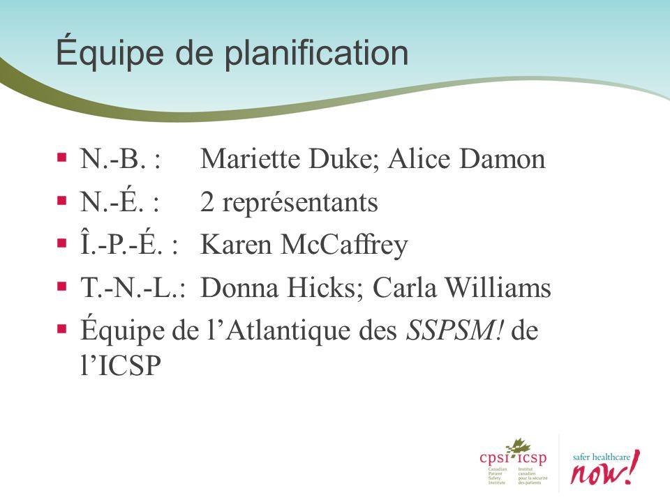 N.-B. : Mariette Duke; Alice Damon N.-É. : 2 représentants Î.-P.-É. : Karen McCaffrey T.-N.-L.: Donna Hicks; Carla Williams Équipe de lAtlantique des