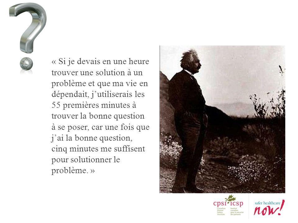 « Si je devais en une heure trouver une solution à un problème et que ma vie en dépendait, jutiliserais les 55 premières minutes à trouver la bonne qu