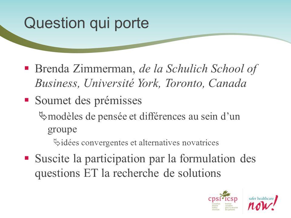 Brenda Zimmerman, de la Schulich School of Business, Université York, Toronto, Canada Soumet des prémisses modèles de pensée et différences au sein du