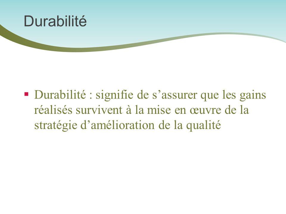 Durabilité Durabilité : signifie de sassurer que les gains réalisés survivent à la mise en œuvre de la stratégie damélioration de la qualité