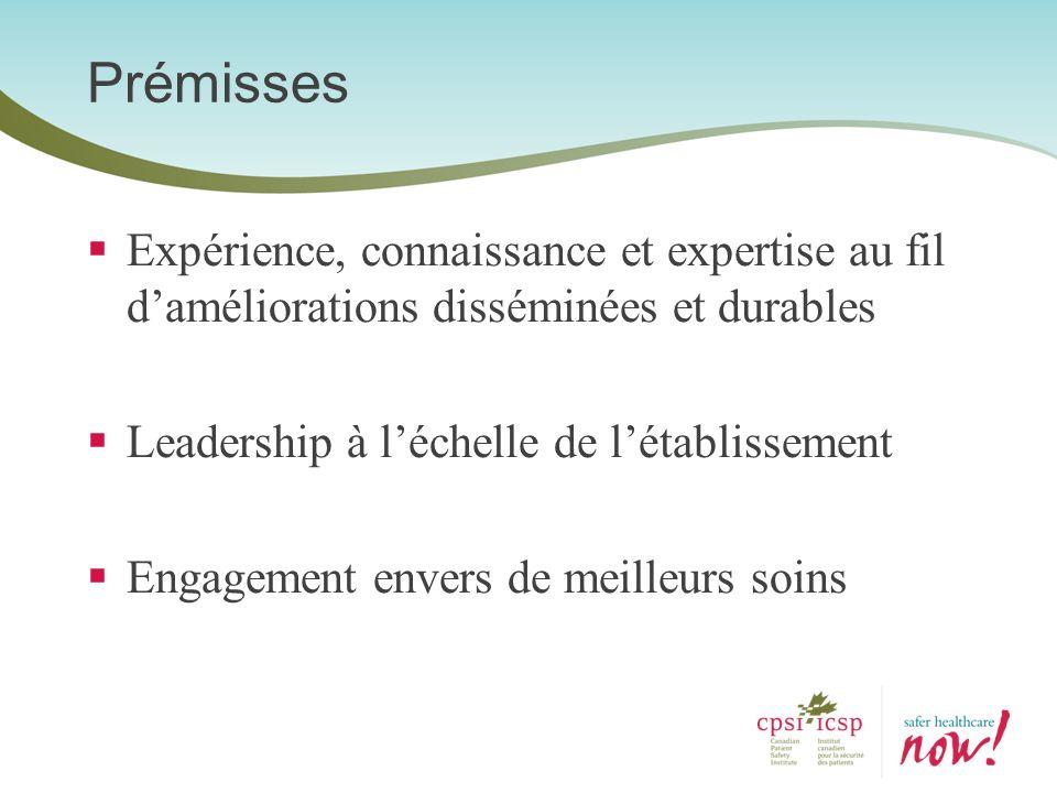 Expérience, connaissance et expertise au fil daméliorations disséminées et durables Leadership à léchelle de létablissement Engagement envers de meill