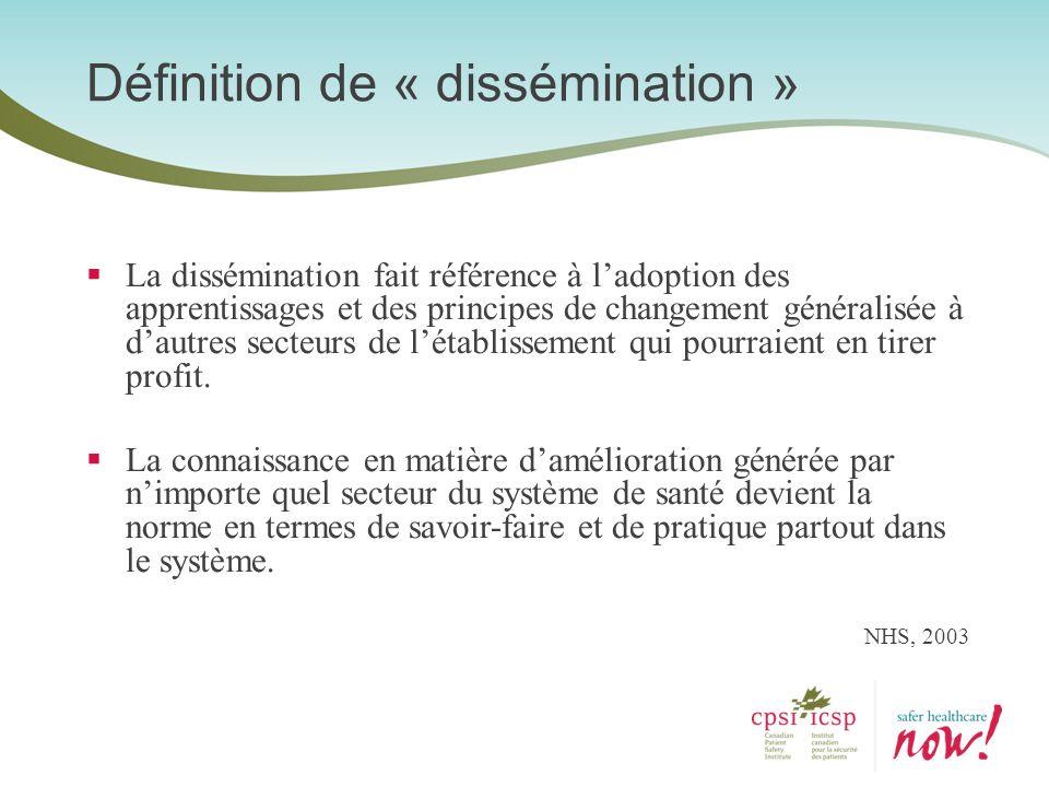 Définition de « dissémination » La dissémination fait référence à ladoption des apprentissages et des principes de changement généralisée à dautres se