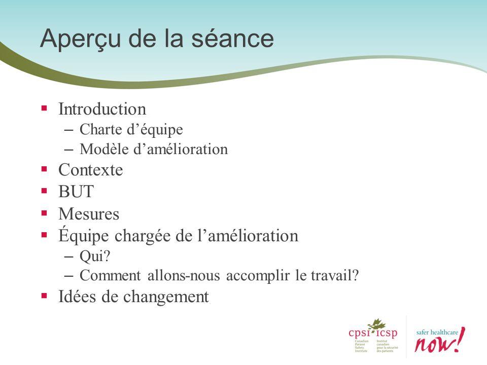 Introduction – Charte déquipe – Modèle damélioration Contexte BUT Mesures Équipe chargée de lamélioration – Qui? – Comment allons-nous accomplir le tr