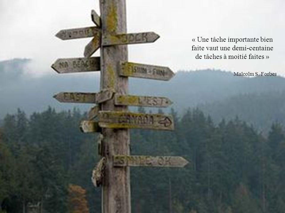 « Une tâche importante bien faite vaut une demi-centaine de tâches à moitié faites » Malcolm S. Forbes