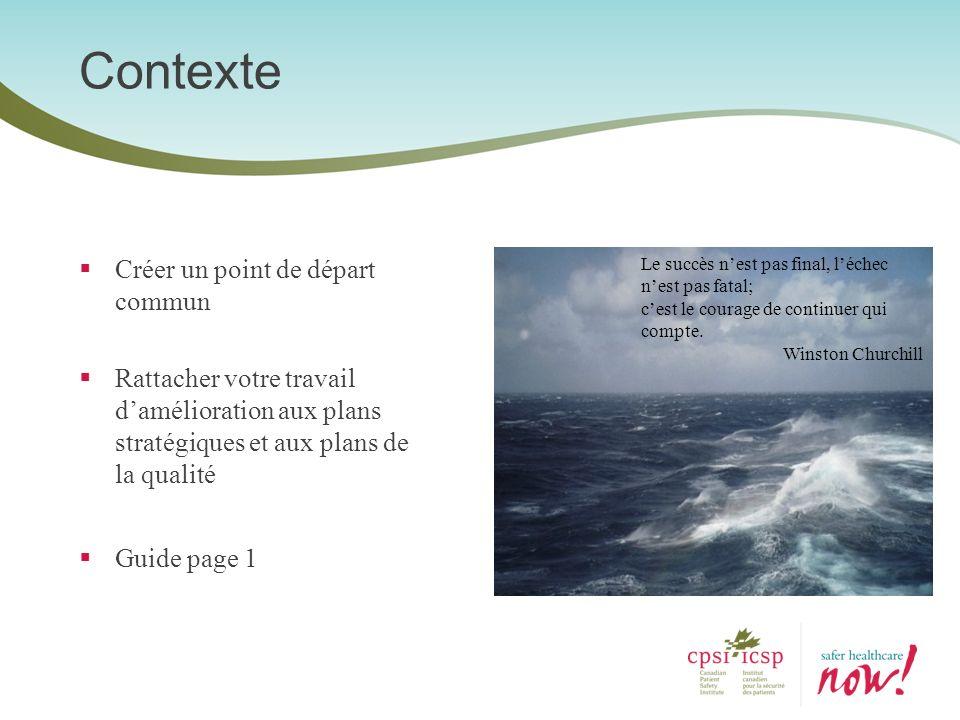Contexte Créer un point de départ commun Rattacher votre travail damélioration aux plans stratégiques et aux plans de la qualité Guide page 1 Le succè