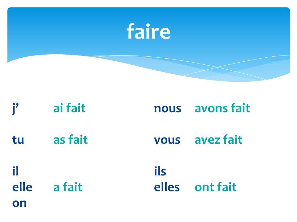 What is the past participle of: fait faire