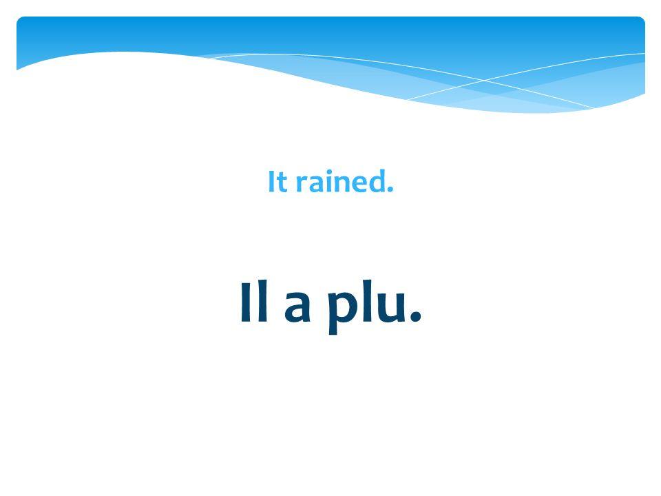 Il a plu.