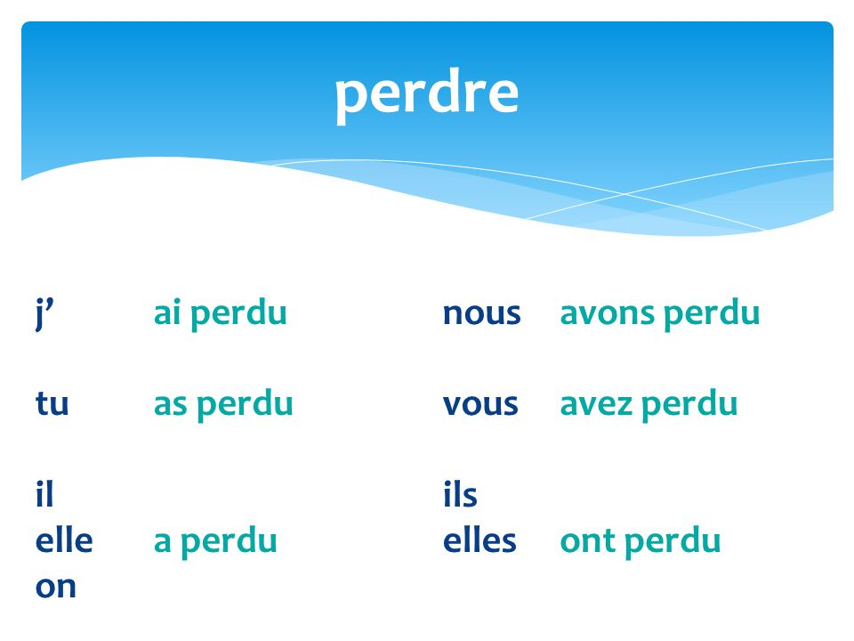 What is the past participle of: perdu perdre