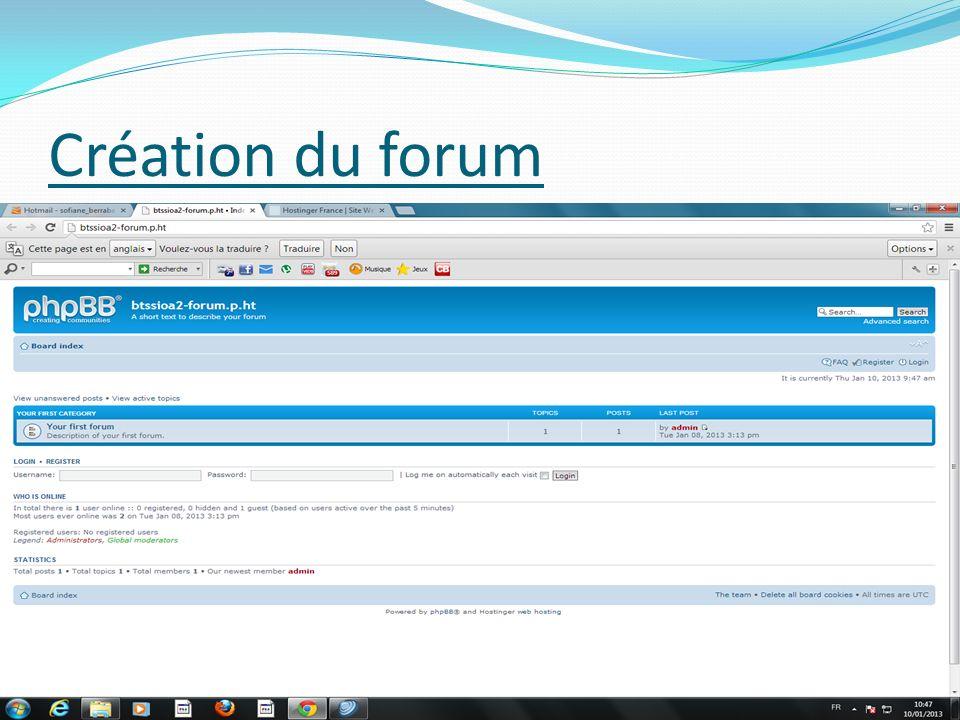 Création du forum