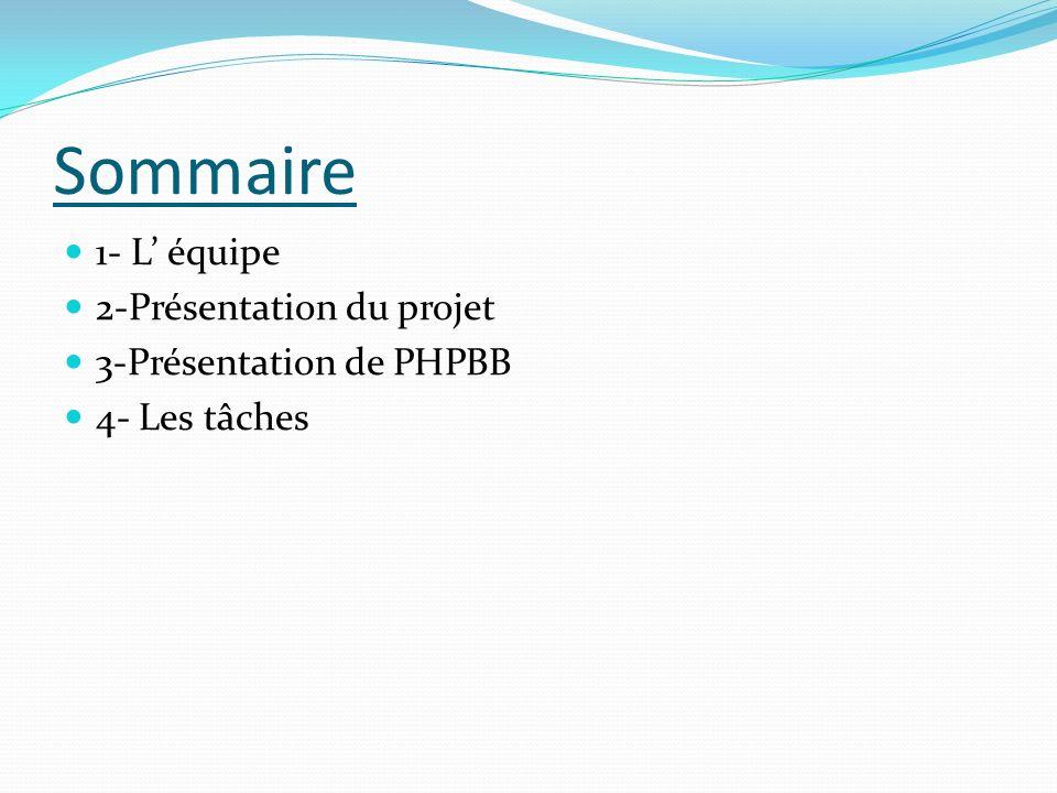 Sommaire 1- L équipe 2-Présentation du projet 3-Présentation de PHPBB 4- Les tâches
