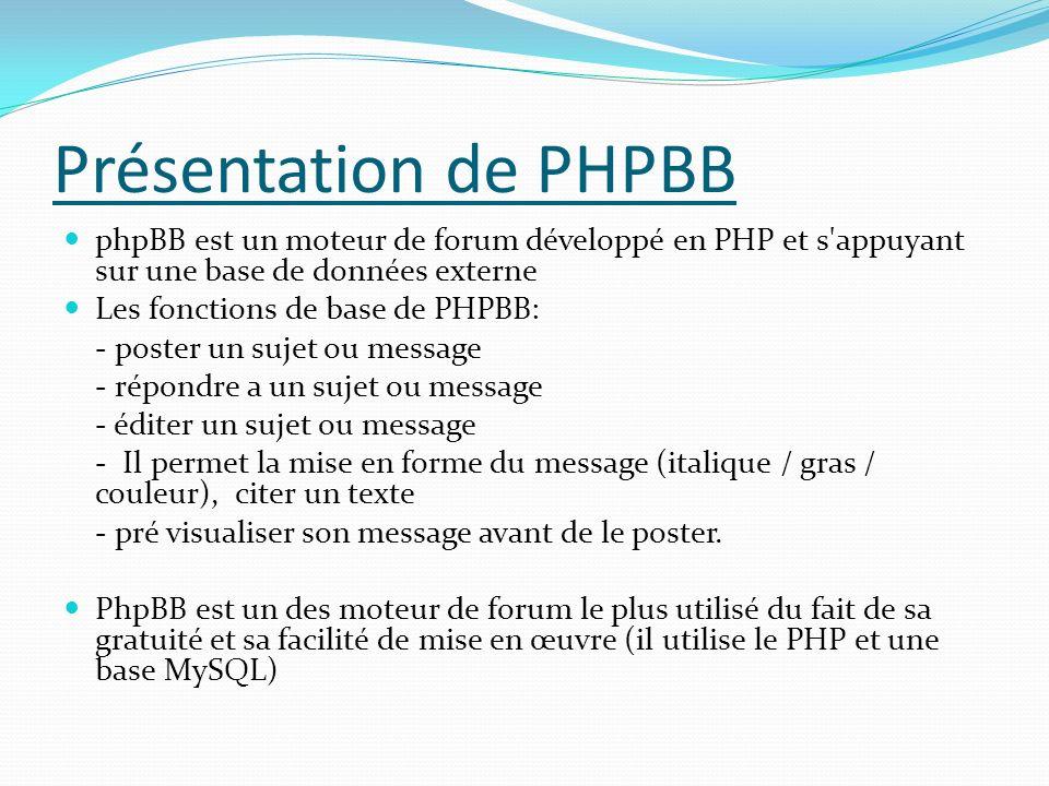 Présentation de PHPBB phpBB est un moteur de forum développé en PHP et s appuyant sur une base de données externe Les fonctions de base de PHPBB: - poster un sujet ou message - répondre a un sujet ou message - éditer un sujet ou message - Il permet la mise en forme du message (italique / gras / couleur), citer un texte - pré visualiser son message avant de le poster.
