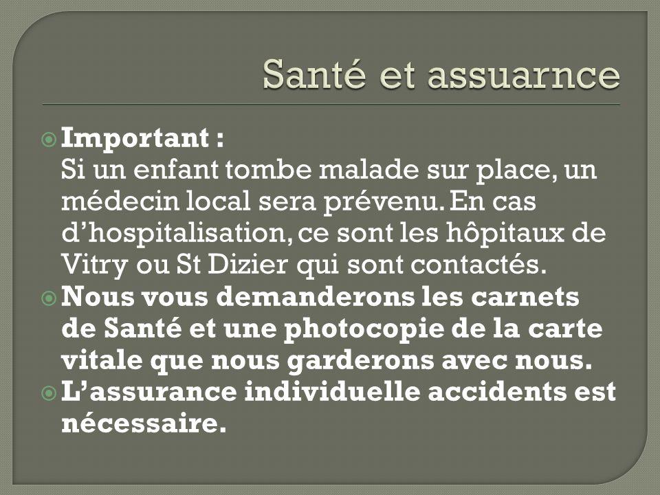 Important : Si un enfant tombe malade sur place, un médecin local sera prévenu.