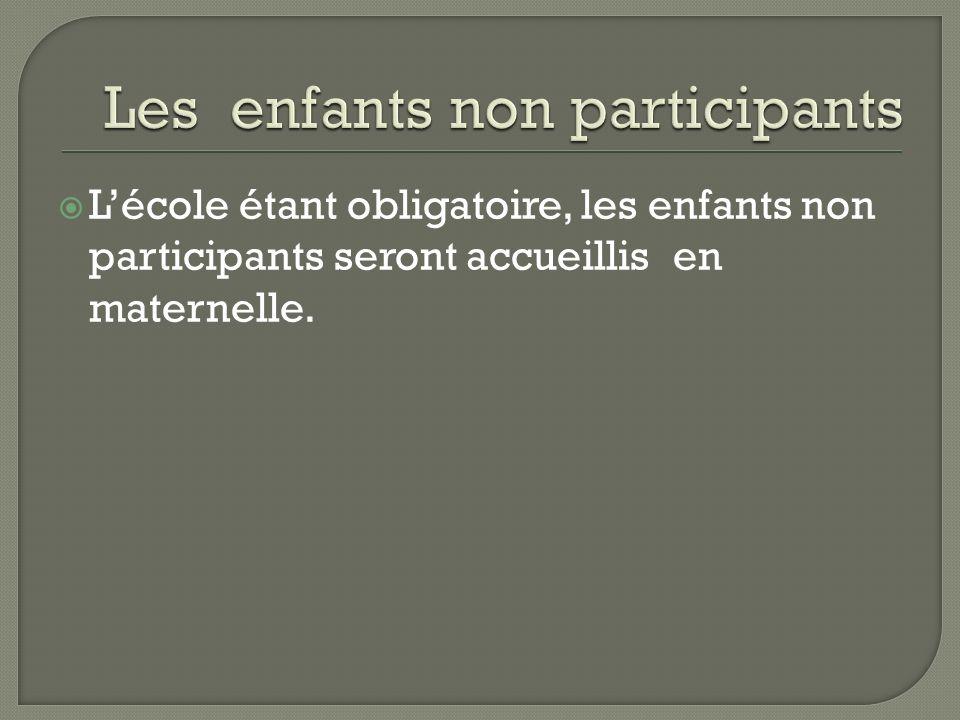 Lécole étant obligatoire, les enfants non participants seront accueillis en maternelle.