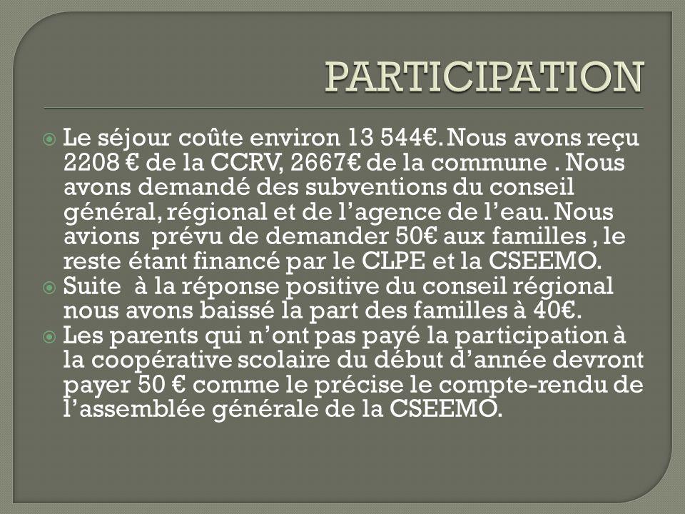 Le séjour coûte environ 13 544.Nous avons reçu 2208 de la CCRV, 2667 de la commune.