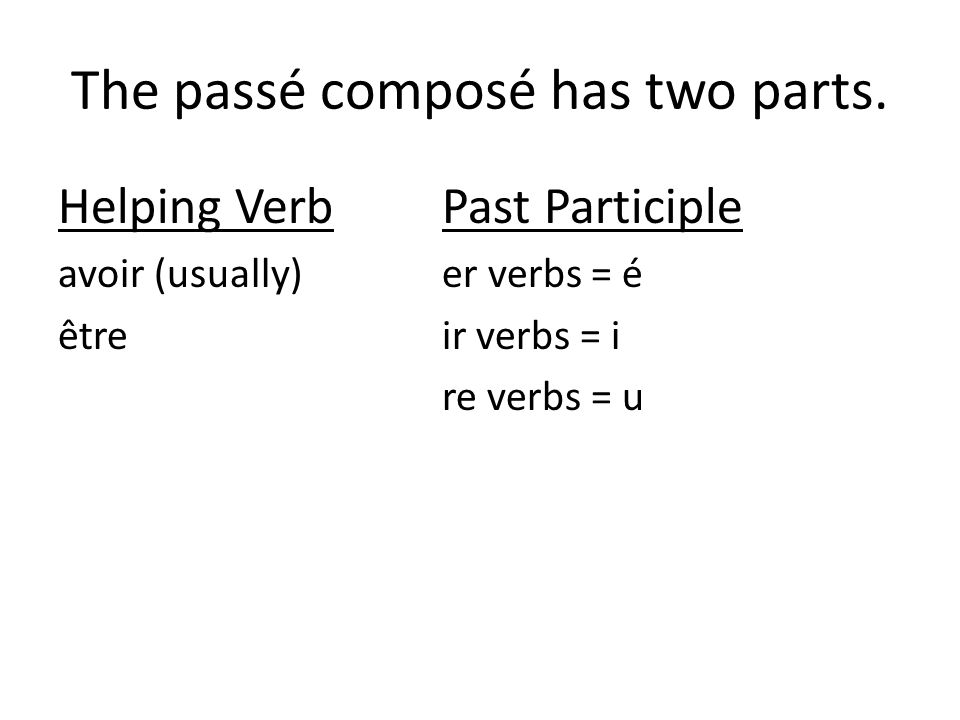 The passé composé has two parts. Helping VerbPast Participle avoir (usually)er verbs = é êtreir verbs = i re verbs = u