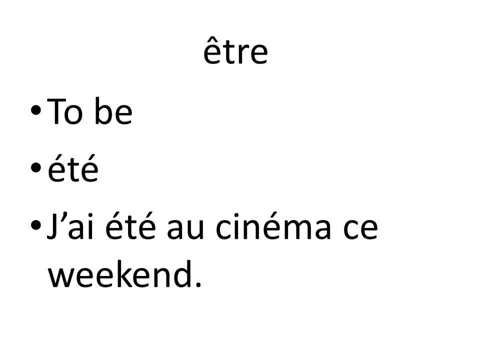 être To be été Jai été au cinéma ce weekend.