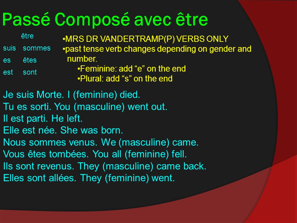 Passé Composé avec être être suissommes esêtes estsont MRS DR VANDERTRAMP(P) VERBS ONLY past tense verb changes depending on gender and number.