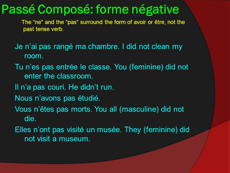 Passé Composé: forme négative The ne and the pas surround the form of avoir or être, not the past tense verb.