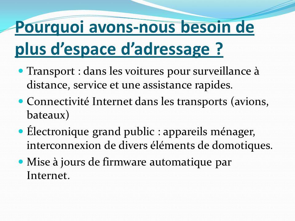 Pourquoi avons-nous besoin de plus despace dadressage ? Transport : dans les voitures pour surveillance à distance, service et une assistance rapides.