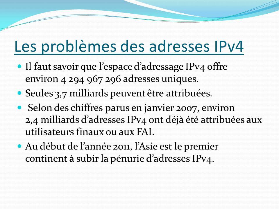 Les problèmes des adresses IPv4 Il faut savoir que lespace dadressage IPv4 offre environ 4 294 967 296 adresses uniques. Seules 3,7 milliards peuvent
