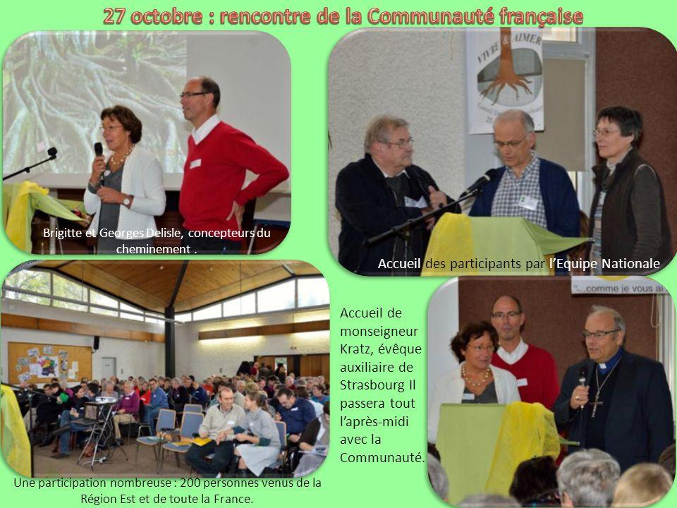 Accueil des participants par lEquipe Nationale Brigitte et Georges Delisle, concepteurs du cheminement.