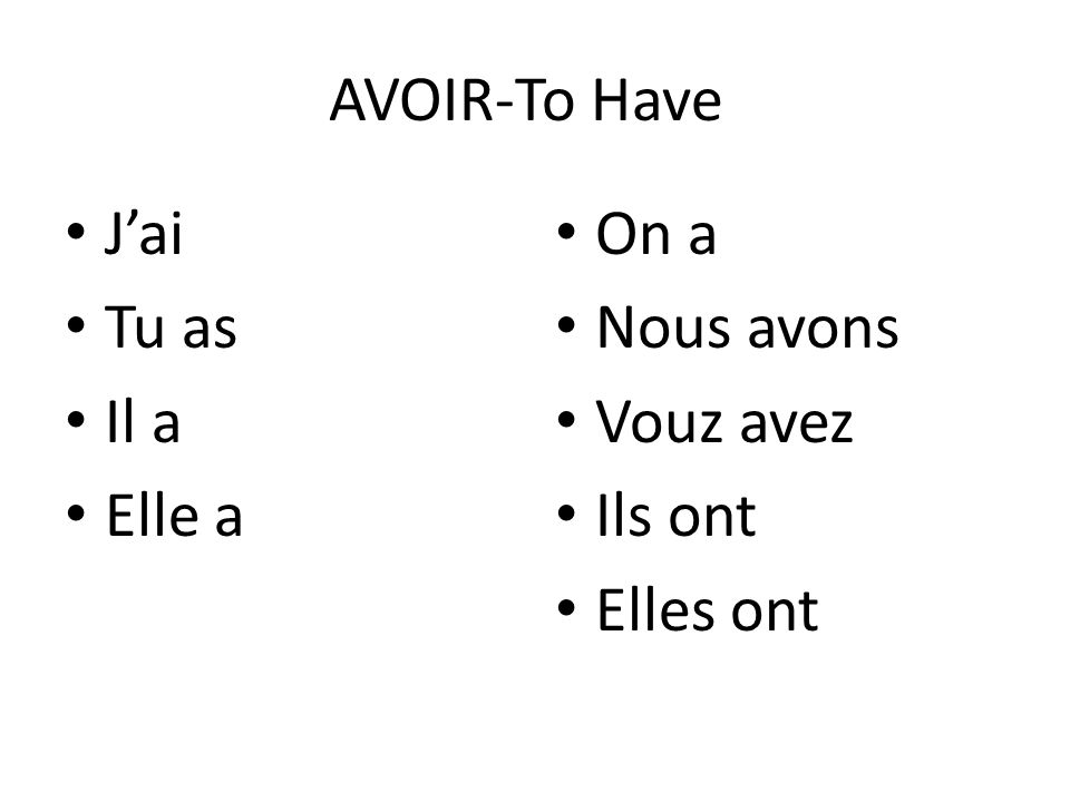 Examples of expressions with Avoir Yasmine _______(needs) a notebook.