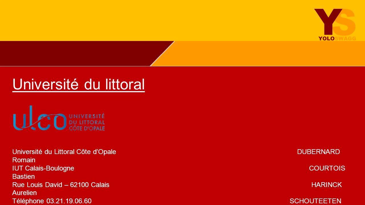 Université du littoral Université du Littoral Côte dOpale DUBERNARD Romain IUT Calais-Boulogne COURTOIS Bastien Rue Louis David – 62100 Calais HARINCK
