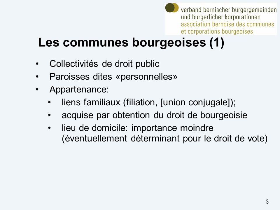 3 Les communes bourgeoises (1) Collectivités de droit public Paroisses dites «personnelles» Appartenance: liens familiaux (filiation, [union conjugale]); acquise par obtention du droit de bourgeoisie lieu de domicile: importance moindre (éventuellement déterminant pour le droit de vote)