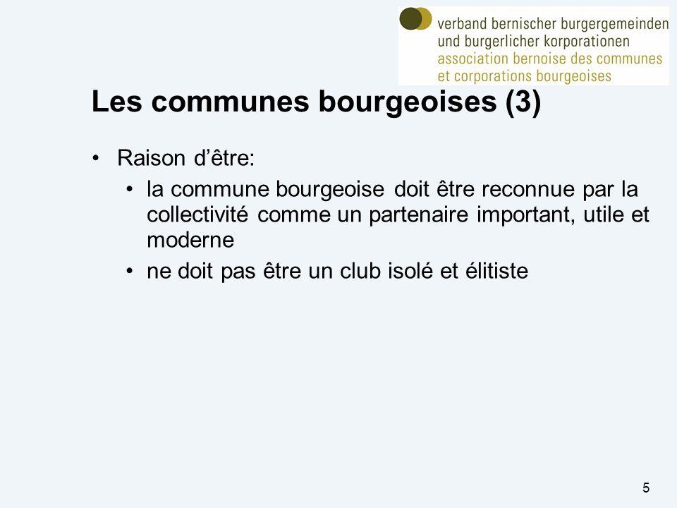 Les communes bourgeoises (3) Raison dêtre: la commune bourgeoise doit être reconnue par la collectivité comme un partenaire important, utile et moderne ne doit pas être un club isolé et élitiste 5