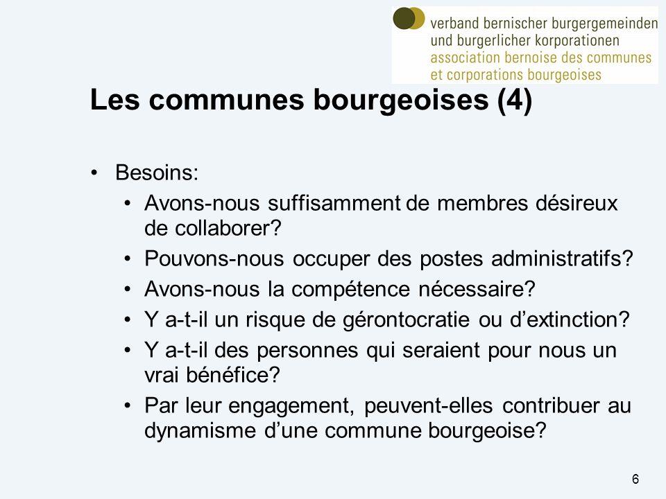 6 Les communes bourgeoises (4) Besoins: Avons-nous suffisamment de membres désireux de collaborer.