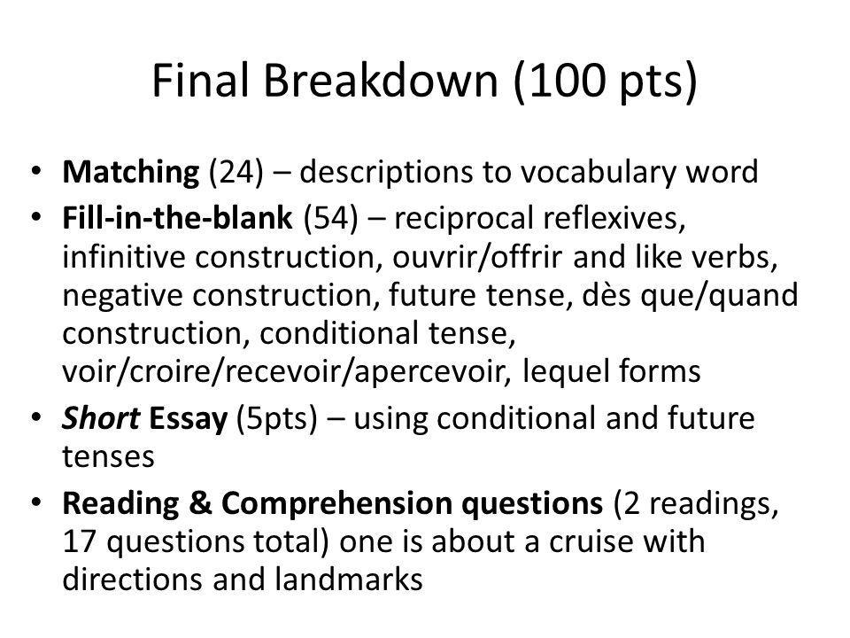Final Breakdown (100 pts) Matching (24) – descriptions to vocabulary word Fill-in-the-blank (54) – reciprocal reflexives, infinitive construction, ouv